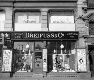 A view of a Jewish-run shop in Germany, after being vandalized by Nazis and covered with anti-Semitic graffiti, on Nov. 10, 1938.