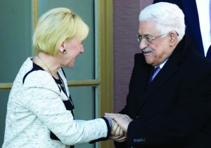 Swedish Foreign Minister Margot Wallström with Palestinian leader Mahmoud Abbas