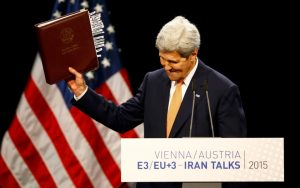 We can trust the Iranians: US Secretary of State John Kerry jubilant in Vienna after reaching agreement with the Iranians, July 14, 2015. How many more victims?