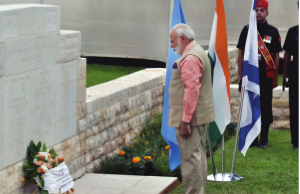 Indian Prime Minister Narendra Modi lays wreath at the Indian cemetery in Haifa, Israel, on July 6.