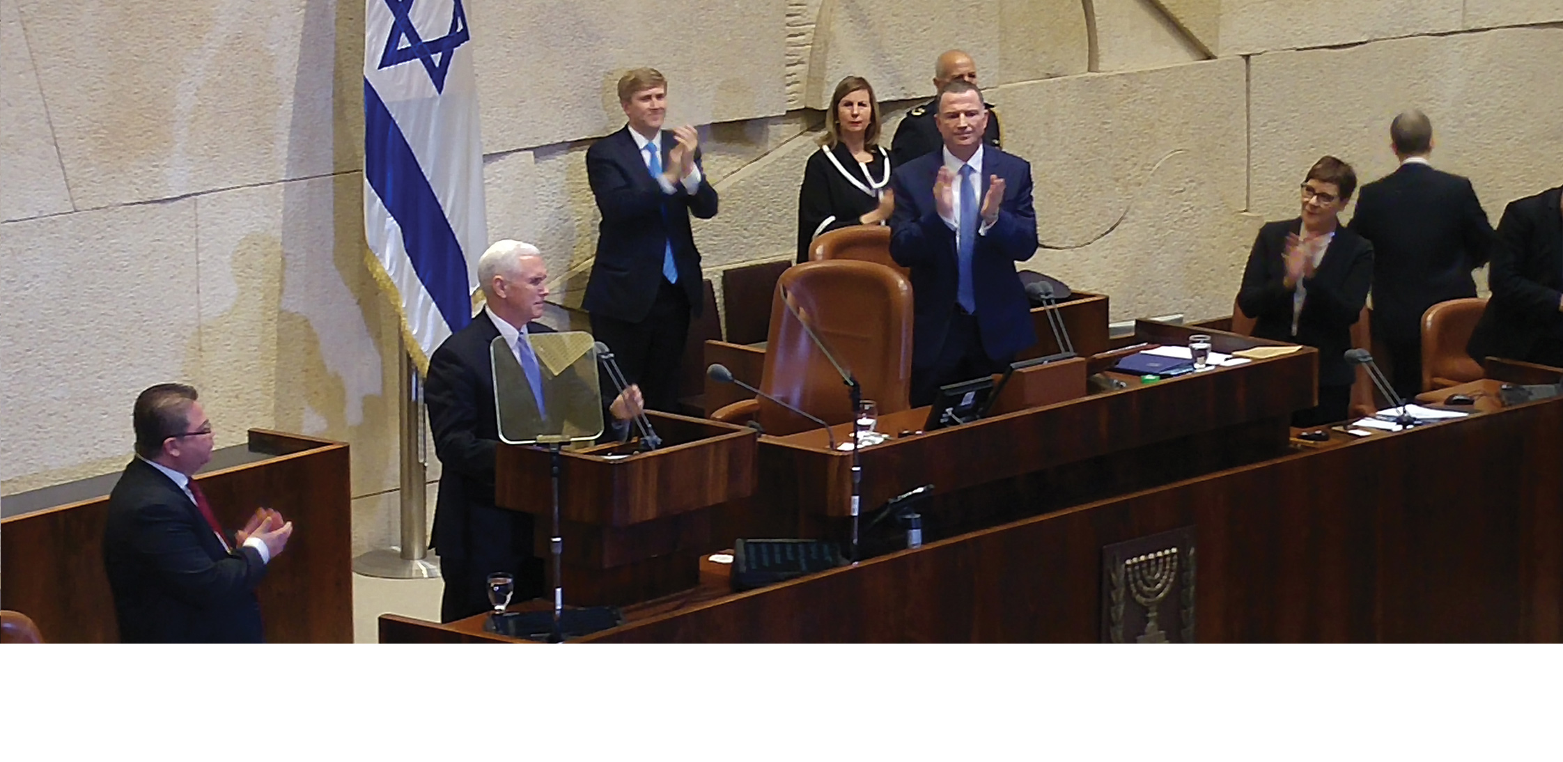 "US Vice President Mike Pence receives standing ovation from eight hundred guests in Israel's parliament, the Knesset, on January 22, 2018, when he declares, ""Jerusalem is Israel's capital."""